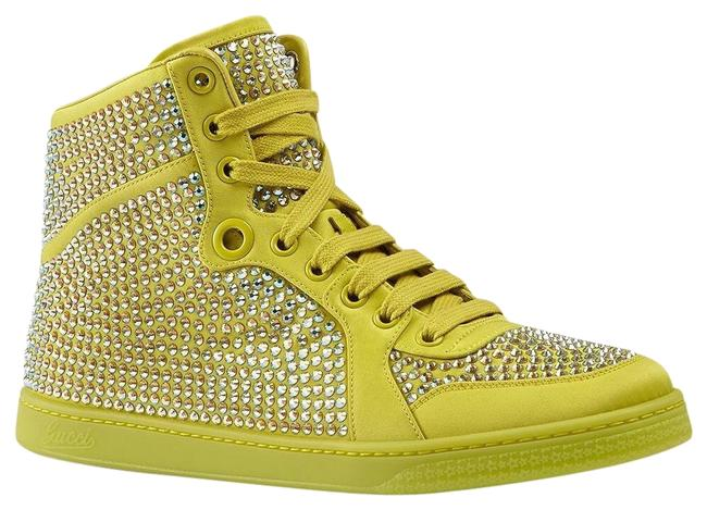 Item - Yellow Women's Satin Fabric Crystal Stud High Top Sneakers Size US 10.5 Regular (M, B)