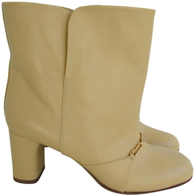Item - Butter Yellow Shiny Calf Leather Wide Shaft Chain Boots/Booties Size EU 38 (Approx. US 8) Regular (M, B)