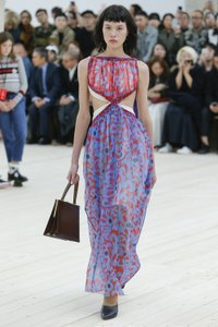 Red Blue Tulle Layered Maxi Dress by Céline