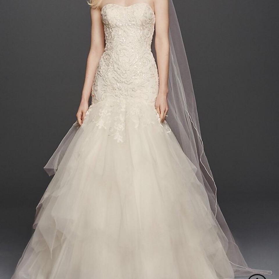 Lace Fit And Flare Wedding Gown: Oleg Cassini Ivory Embellished Lace Tulle Fit & Flare