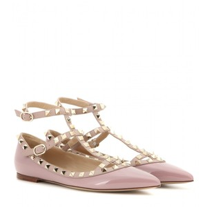 Valentino Rockstud Spike Ankle Strap Pointed Toe Gold Hardware Pink Flats