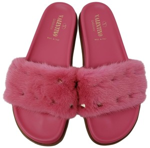Valentino Fur Rockstud Spike Jelly Gold Hardware Pink Sandals