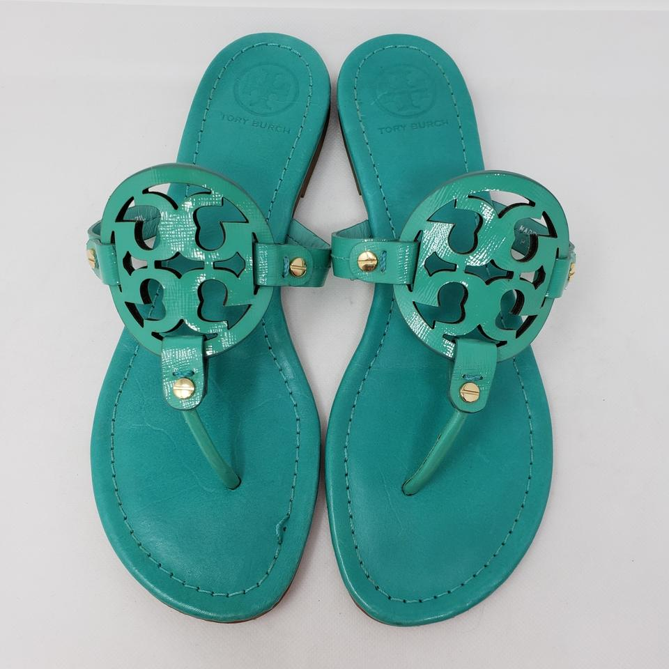 48453b0d4 Tory Burch Blue Teal Leather Miller Sandals Size US 10 Regular (M