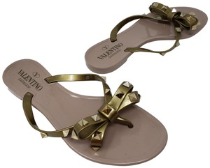 Valentino Rockstud Hardware Jelly Bow Studded Gold Sandals