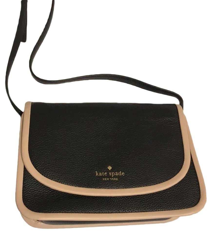 4c8e7655bee9 Kate Spade Ward Place Crossbody Shoulder Black with Rose Cloud Trim Leather  Cross Body Bag