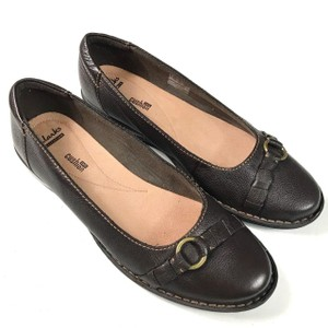 Clarks Leather Soft Cushion Slip-on Brown Flats