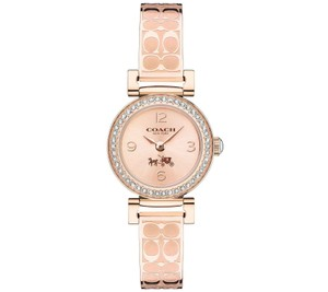 Coach Coach Womens Signature Etched Rose Gold Bangle Bracelet Watch 24mm
