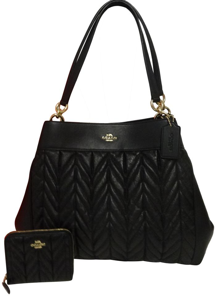 753e5e2d Coach Lexy Quilted with Matching Wallet Black Leather Shoulder Bag 60% off  retail