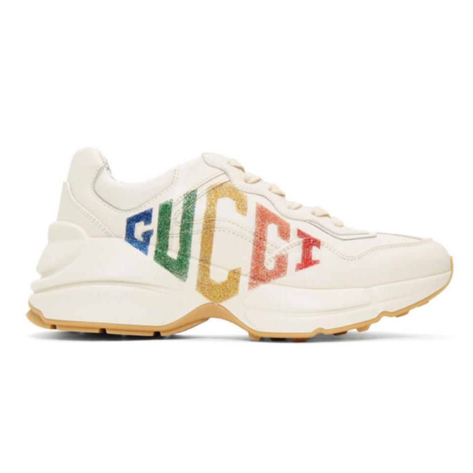 53758705327 Gucci Rhyton Rainbow Glitter Logo Leather Sneakers Sneakers Size US ...
