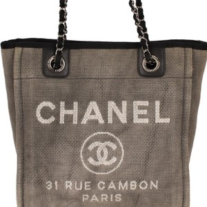 Chanel Denim Classic Beach Vintage Tote in Gray