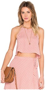 Privacy Please Polka Dot Crop Top Pink