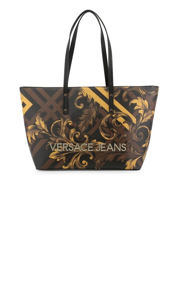 f87b50c3f1cc Versace Jeans Collection Bde1vsbbk7 70785 m27 Tote in Brown Black Yellow  Gold ...