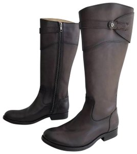 Frye Extended Calf Riding Molly Button Brown Boots