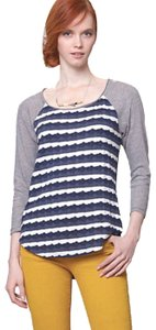 Anthropologie Textured Ripples Striped Stretch Fabric Easy Care Dress Up Or Down T Shirt Blue