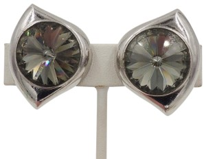 Lanvin Vintage 1980s Signed Lanvin Paris Grey Rivoli Rhinestone Earrings