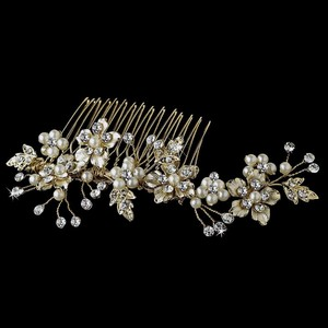 Elegance by Carbonneau Gold Pearl Comb Accent Comb Hair Accessory
