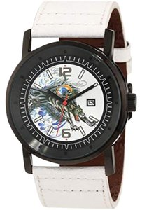 Ed Hardy KM-PT Sport Men's White Calfskin Band With White Analog Dial Watch