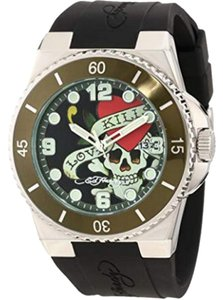 Ed Hardy FU-LK Women s Black Silicon Band With Green Analog Dial Genuine  Watch f17bdc4990