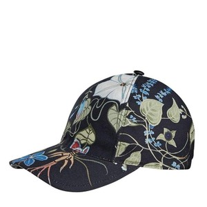 Gucci Unisex Flora Knight Black Cotton Linen Medium Baseball Hat 372689 1000