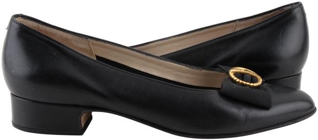 Item - Black Leather Bow Buckle Pumps Size US 6 Narrow (Aa, N)