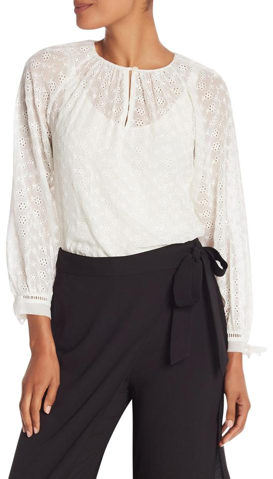 2f3caf660702a8 Rebecca Taylor Snow Long Sleeve Eyelet Silk Blouse 918632b336 Button-down  Top