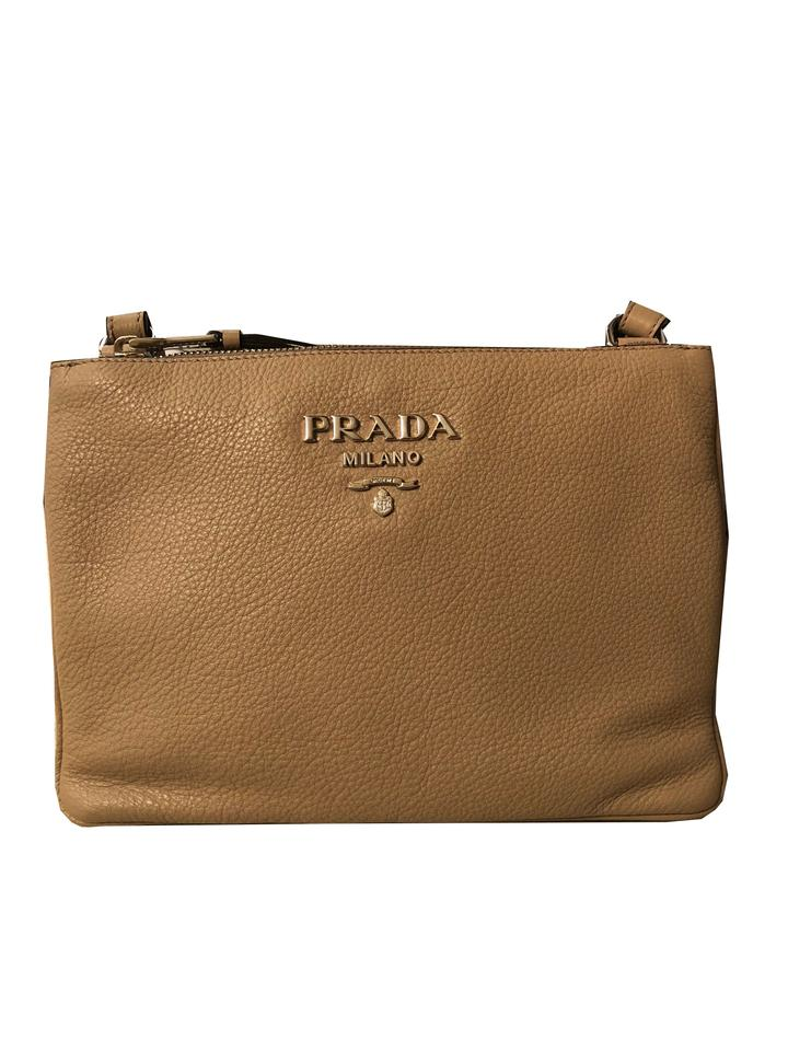 Prada Women s Vitello Phenix 1bh046 Beige Leather Cross Body Bag ... cae17b6361b57