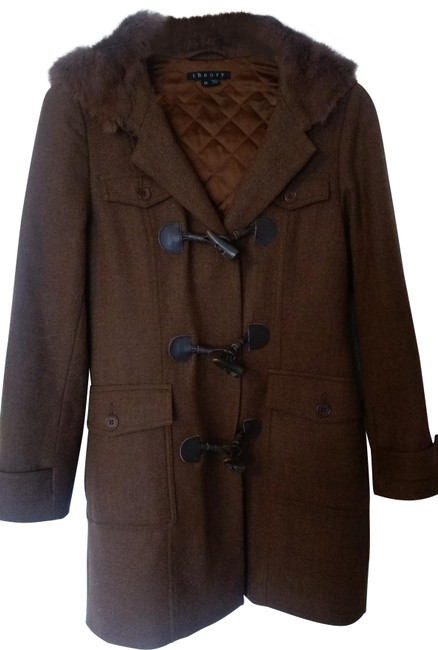 Item - Brown Wool with Fur Hood Coat Size 8 (M)
