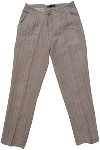 Peruvian Connection Linen Striped Trouser Pants Taupe, gray, and white