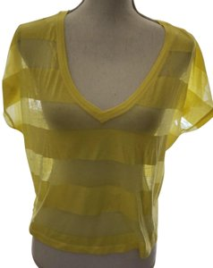 b5925f960abf6 Aéropostale Yellow Sheer Stripes Aero Size Large T Shirt Bright Yellow-New  -sale-