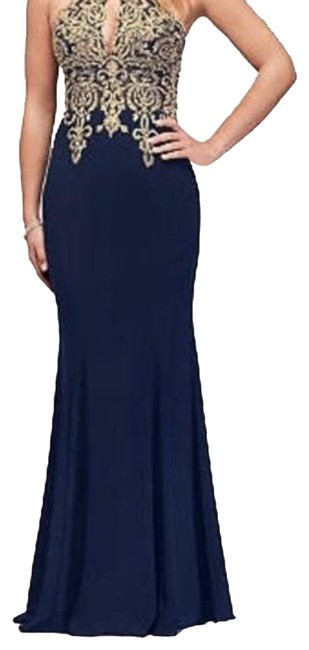 Item - Navy and Gold Jersey Metallic Lace Round Neck Halter Gown Long Formal Dress Size 2 (XS)