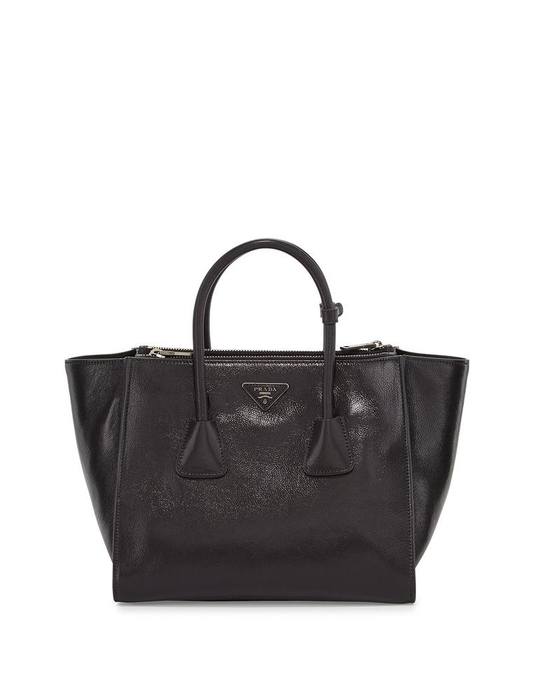 46784197f49 Prada Shopping Women's Glace Calf Handbag 1bg625 Black Leather Tote 32% off  retail