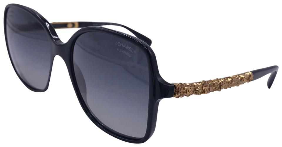 f42cd8dfc5 Chanel Black Gold Squared Blooming 5355 C.622 S8 Bijou Limited Polarized  Sunglasses 74% off retail