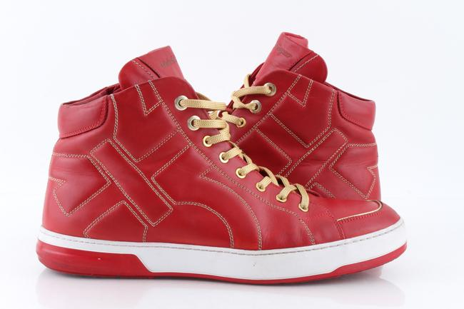 """Salvatore Ferragamo Red """"Nicky"""" High Top Sneakers Shoes Salvatore Ferragamo Red """"Nicky"""" High Top Sneakers Shoes Image 1"""