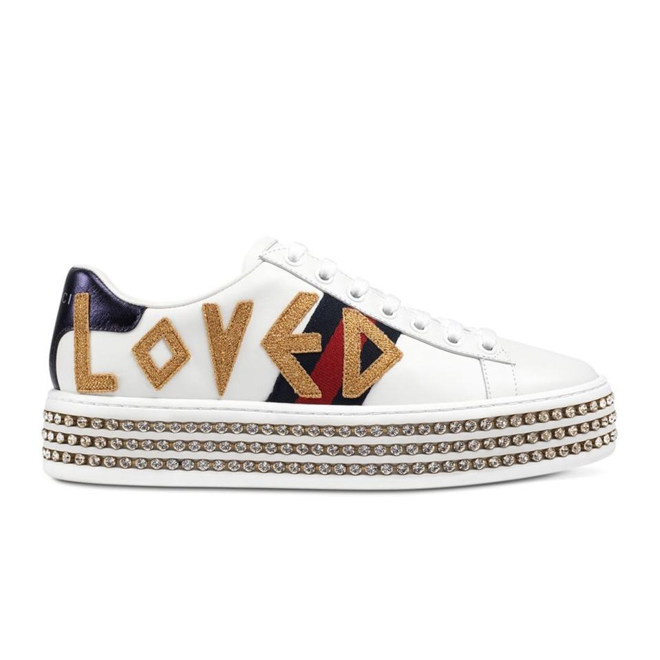cf857d580 Gucci New Ace Loved Leather Trainer with Crystal Embellished Platform  Sneakers