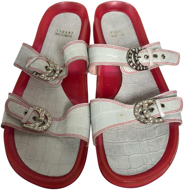 Item - White/Pink Jelly Faux Croc Leather M Sandals Size US 10 Regular (M, B)