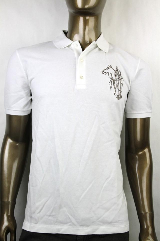 59df6041 Gucci White New Men's Slim Fit Embroidered Horse Polo Top Xl 338567 9000  Shirt