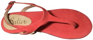 Butter Suede Leather Peach Summer Red Sandals