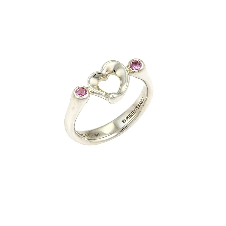 d2ee4b3cc Tiffany & Co. Peretti Pink Sapphire Open Heart Sterling Silver Ring Image 0  ...