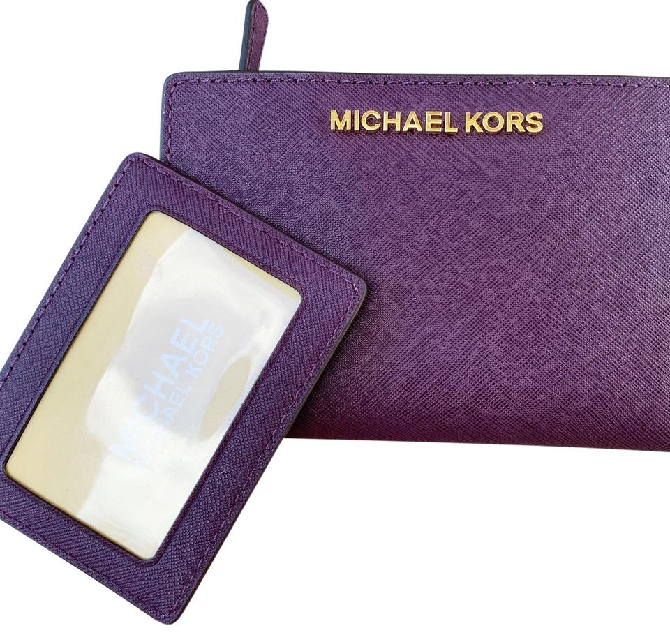 f95754524d2d38 Michael Kors Michael Kors Medium Card Case Carryall Wallet Purple Image 0  ...
