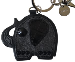 Furla Black Leather Elephant Keychain