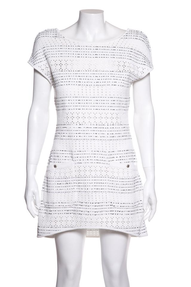 0a8c643b40f Chanel White Sequin Embellished Short Casual Dress Size 4 (S) - Tradesy