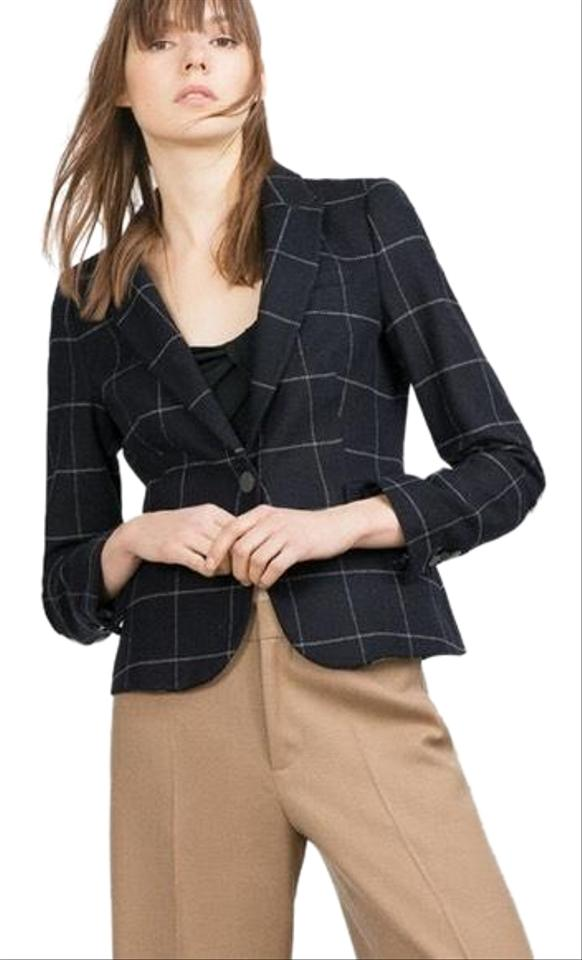 newest 639e0 a6972 Zara Wool Checked Blue Jacket with Elbow Patches Blazer
