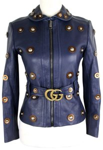 Gucci Women's Runway Grainy Navy Blue Leather Jacket