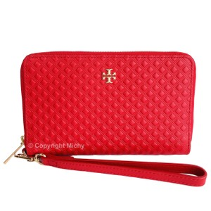 Tory Burch Marion Embossed Smartphone Wallet Wristlet in Liberty Red