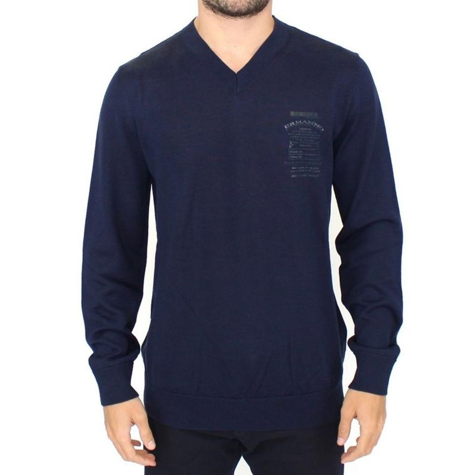 5f152b1f25c Ermanno Scervino Blue D10105-3 Wool Blend V-neck Pullover Sweater (It 48   M)  Groomsman Gift