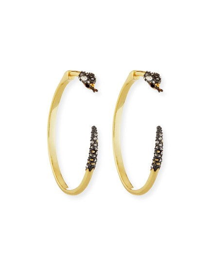 Alexis Bittar BRAND NEW Alexis Bittar Two Part Snake Hoop Earrings Crystal Pave Image 5