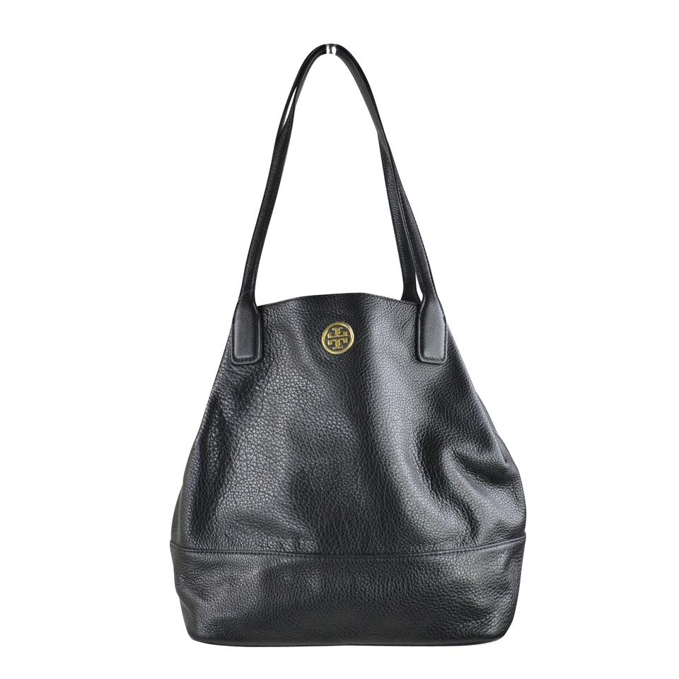 bf0d1f2ab8d Tory Burch Michelle Black  Gold Leather Tote - Tradesy