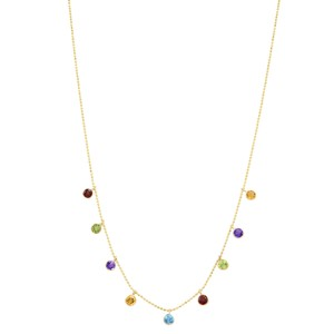 Gavriel's Jewelry Dangling Gemstone Strand Necklace Yellow Gold 14K Yellow Gold