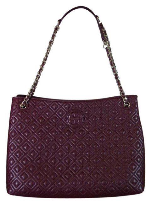Item - Marion Deep Berry Quilted Shoulder Burgundy Leather Tote