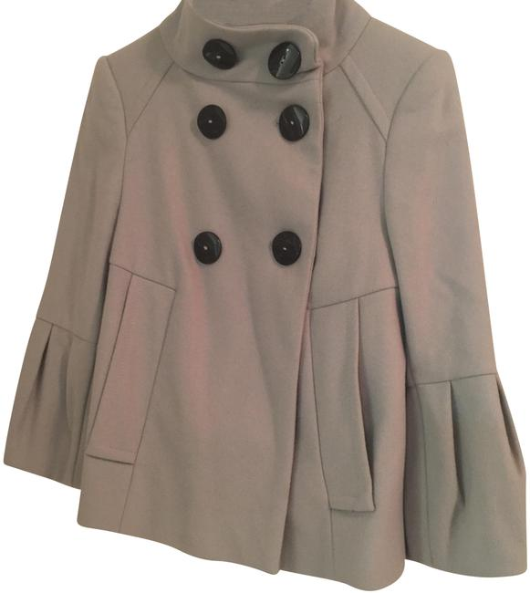 Item - Grey Bell-sleeved Funnel Neck Peacoat Poncho/Cape Size 2 (XS)